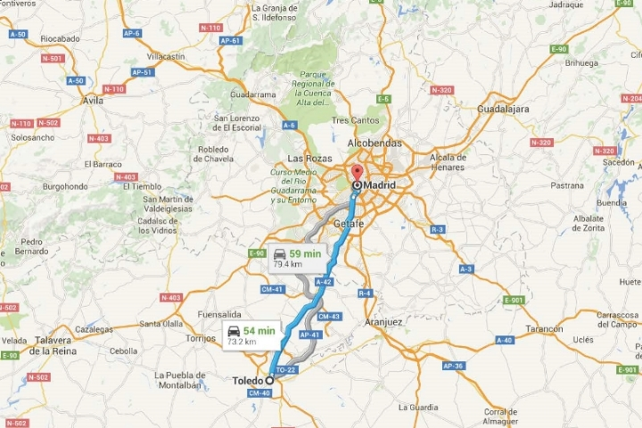Day trip from Madrid Toledo Map